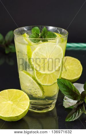 Cold Green Lime Juice With Ice Cubes