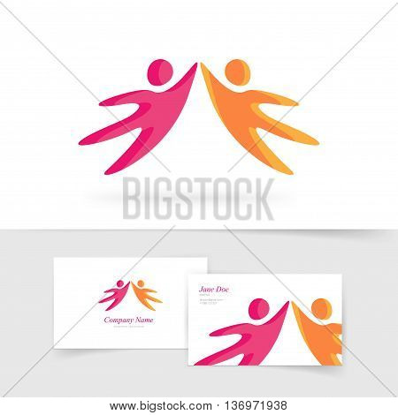 Abstract two people holding hands together vector logo element, red orange kids silhouette flying dancing logotype isolated on white, concept of community, family support, friendship creative emblem