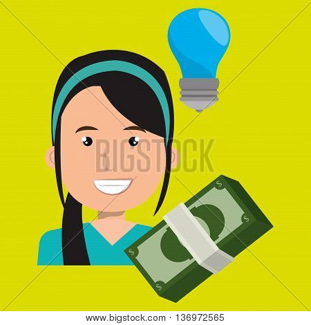 business person with bills dollars   isolated icon design, vector illustration  graphic