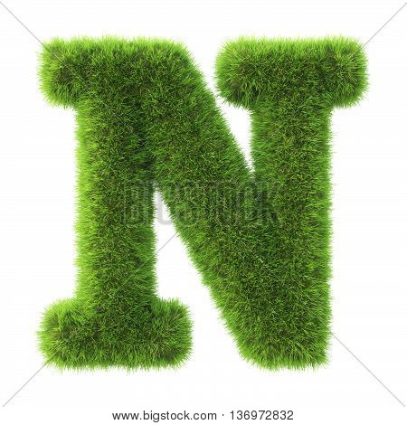 Alphabet made from green grass. isolated on white. 3D illustration.n