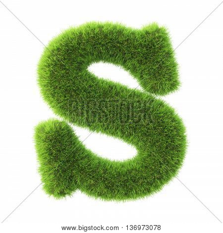Alphabet made from green grass. isolated on white. 3D illustration.s