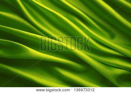 Silk Fabric Background Green Satin Waving Cloth