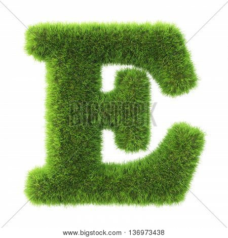 Alphabet made from green grass. isolated on white. 3D illustration.e