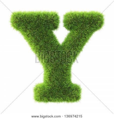 Alphabet made from green grass. isolated on white. 3D illustration.y