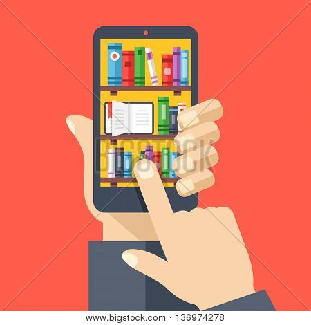 Bookshelves with books on smartphone screen. Online digital library. Hand holds smartphone, finger touches screen. Modern concept for web banners, web sites. Creative flat design vector illustration