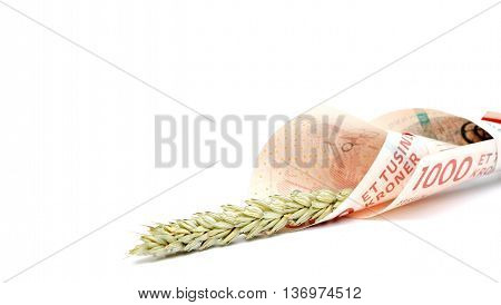 picture of a Danish crowns and wheat ear. Food concept