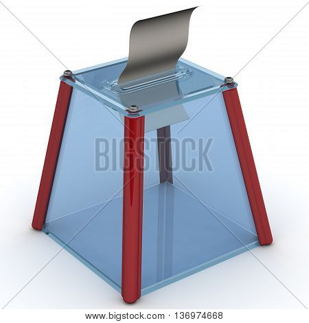 Election ballot box and ballot paper. Transparent ballot box to vote with ballot sheet is on the white surface. Isolated. 3D Illustration