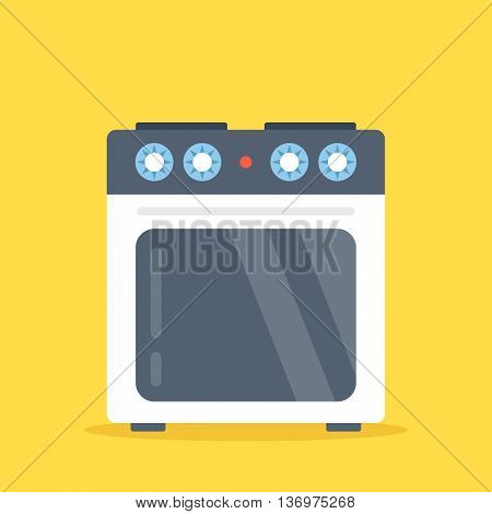 Vector stove. White electric kitchen stove with oven isolated on yellow background. Flat design vector illustration
