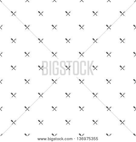 BBQ barbecue tools seamless pattern background. Crossing grill meat fork and spatula icon repeated. Black and white colors.