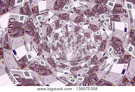 A Vortex Made Of 500,- Euro Banknotes