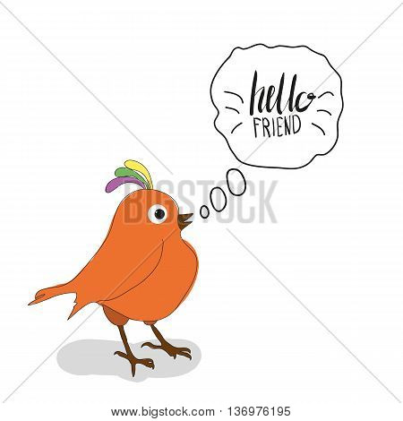 Bird Says Friendship Day Cute Hand Drawing Vector Illustration For Your Design