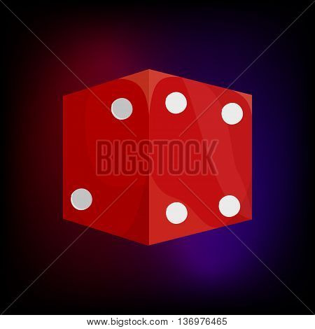 Red dice icon in cartoon style for any design