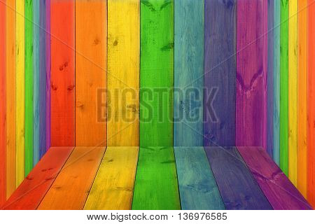closed room with multicolored boards in colors of rainbow