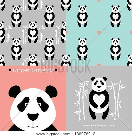 Panda bear set. Vector flat Panda. Cute cartoon Panda. Cartoon panda vector. Panda baby. Adorable panda bear with bamboo. Panda bear bamboo seamless pattern. Chinese Panda face.
