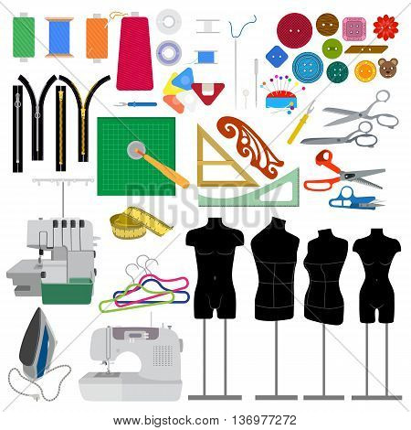 Set of elements for sewing clothes . Collection cutting items for modeling dress.  Sewing machine, overlock and other accessories for hand made hobby. Fashion tools in flat design. Vector illustration