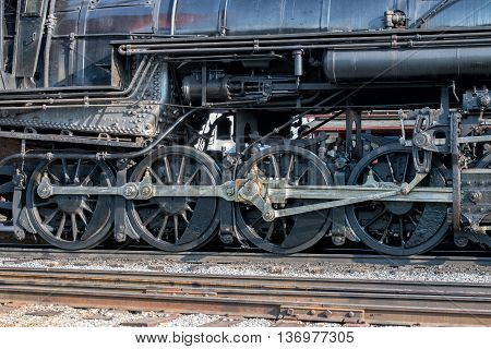 Old Steam Engine Iron Train Detail Close Up
