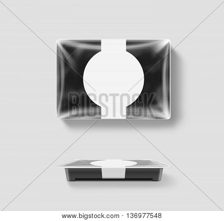 Blank plastic disposable food container mockup transparent foil lid isolated clipping path 3d illustration. Sushi to go bento delivery box mock up. Meal lunch take away out clear tray template.