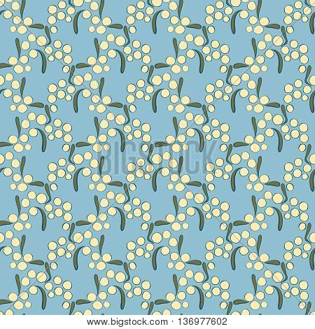 seamless pattern yellow acacia on a blue background