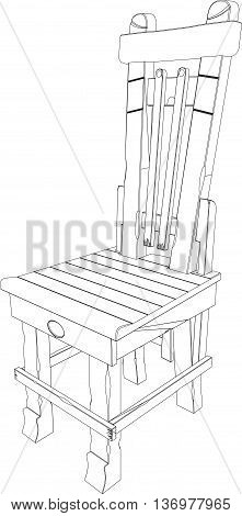 3D rendering of a country chair, isolated on a white background