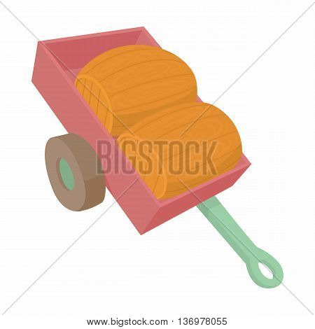 Wheelbarrow with two wooden barrels icon in cartoon style on a white background