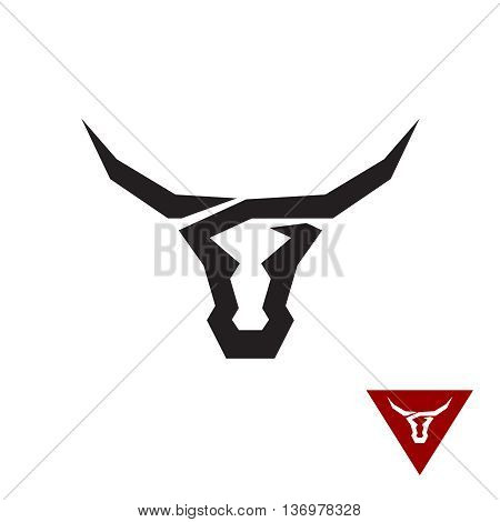 Bull Logo. Black Flat Tattoo Style Symbol Of A Bull Head.
