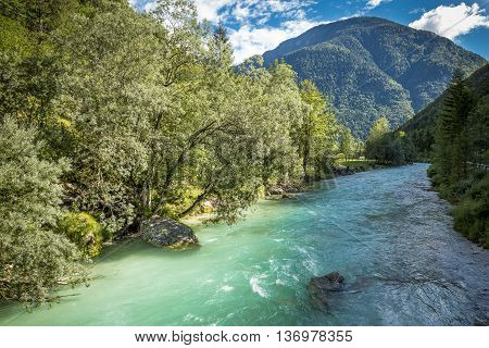 The bed of soca river in Slovenia