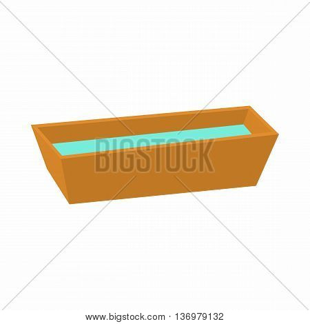 Watering trough reservoir icon in cartoon style on a white background