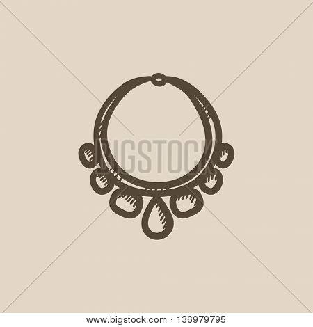 Necklace with gems sketch icon for web, mobile and infographics. Hand drawn Necklace icon. Necklace vector icon. Necklace icon isolated on white background.