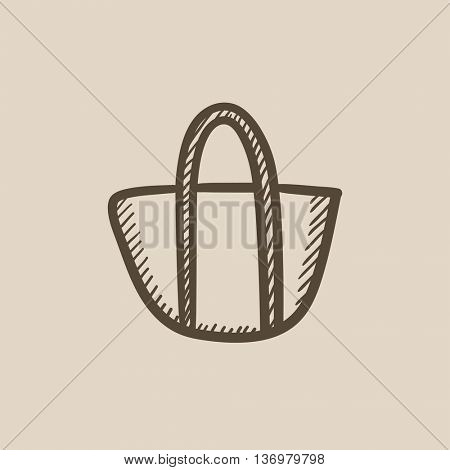 Hand bag sketch icon for web, mobile and infographics. Hand drawn hand bag icon. Hand bag vector icon. Hand bag icon isolated on white background.