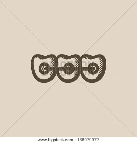 Orthodontic braces vector sketch icon isolated on background. Hand drawn Orthodontic braces icon. Orthodontic braces sketch icon for infographic, website or app.