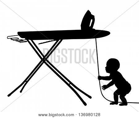 Editable vector silhouette of a baby in danger from pulling on the cord of an iron with baby as a separate object