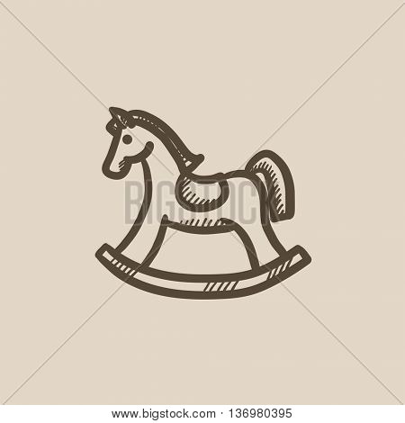 Rocking horse vector sketch icon isolated on background. Hand drawn Rocking horse icon. Rocking horse sketch icon for infographic, website or app.