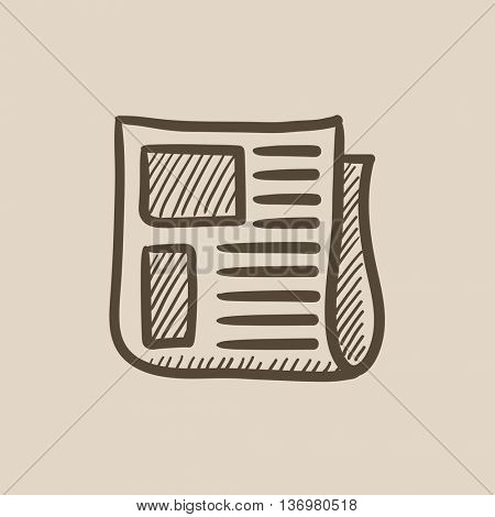 Newspaper vector sketch icon isolated on background. Hand drawn Newspaper icon. Newspaper sketch icon for infographic, website or app.