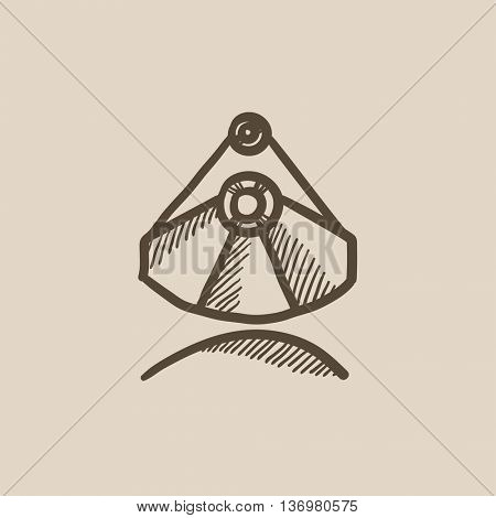 Mining industrial scoop vector sketch icon isolated on background. Hand drawn Mining industrial scoop icon. Mining industrial scoop sketch icon for infographic, website or app.
