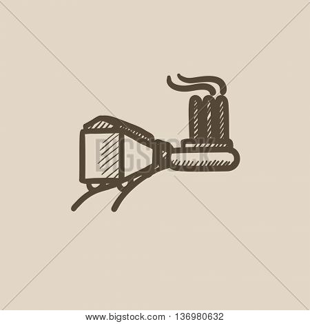 Factory with railway vector sketch icon isolated on background. Hand drawn Factory with railway icon. Factory with railway sketch icon for infographic, website or app.