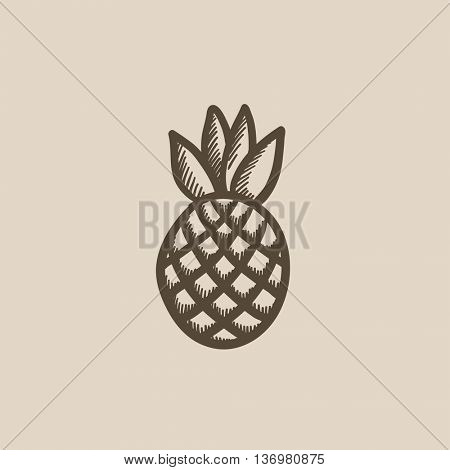 Pineapple vector sketch icon isolated on background. Hand drawn Pineapple icon. Pineapple sketch icon for infographic, website or app.