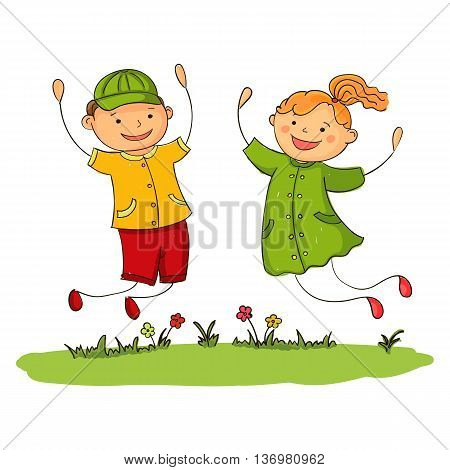Happy jumping girl and boy. Vector illustration of joy kids.