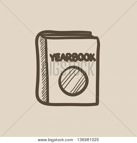 Yearbook vector sketch icon isolated on background. Hand drawn Yearbook icon. Yearbook sketch icon for infographic, website or app.