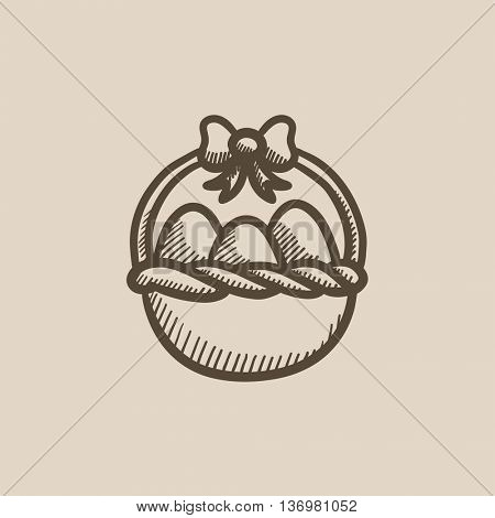 Basket full of easter eggs vector sketch icon isolated on background. Hand drawn Basket full of easter eggs icon. Basket full of easter eggs sketch icon for infographic, website or app.