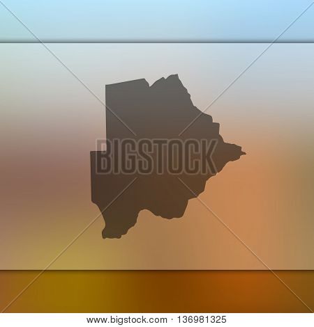 Botswana map on blurred background. Blurred background with silhouette of Botswana.