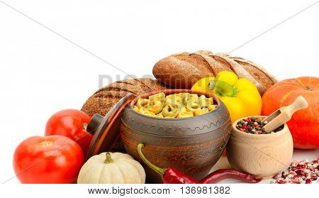 set of useful products (vegetables, spices, ravioli) isolated on white background