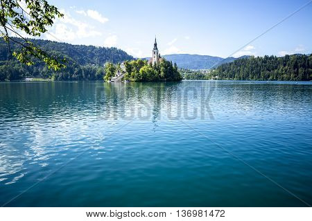 Church on an island on Bled lake in Slovenia