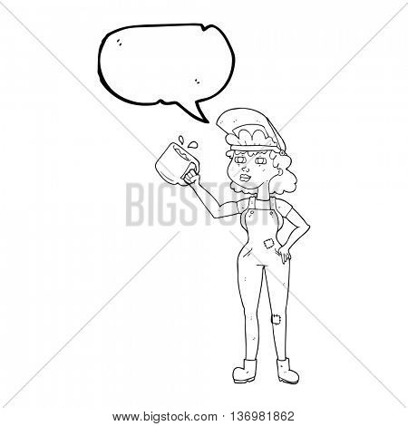 freehand drawn speech bubble cartoon woman in dungarees