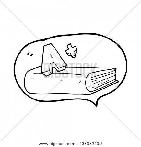 freehand drawn speech bubble cartoon A grade symbol and book