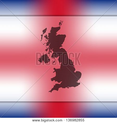 United Kingdom map on blurred background. Blurred background with silhouette of United Kingdom. England map. Great Britain map.