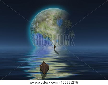 Man with boat on water surface against the planet 3D Render