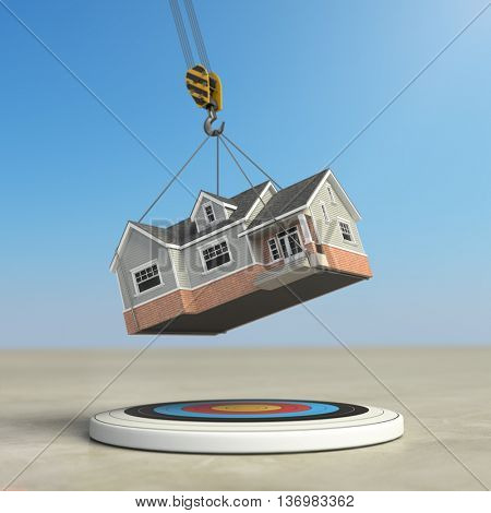 Moving  home. Crane with house and target. Change of residence. Real estate concept. 3d illustration