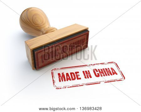 Stamp made in China isolated on white.  3d illustration