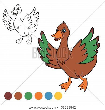 Coloring page. Color me: duck. Cute duck runs and smiles. It waves her wings.