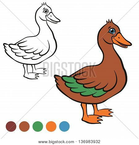 Coloring page. Color me: duck. Little cute duck stands and smiles. It`s happy.